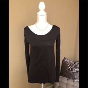 Tops - Size small chocolate brown/grey LS shirt